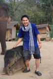 Mens en olifant Stock Foto