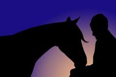 Mens en paard Royalty-vrije Stock Afbeelding