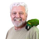 Mens en papegaai Royalty-vrije Stock Afbeelding