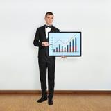 Mens en plasma met grafiek royalty-vrije stock afbeelding