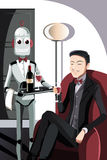 Mens en robot Royalty-vrije Stock Foto's