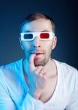 Mens en stereoglazen Stock Afbeeldingen