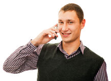 Mens en telefoon Stock Afbeelding
