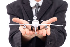 Mens en vliegtuig Stock Afbeelding
