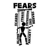 Mens en zijn vrees royalty-vrije illustratie