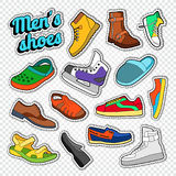 Mens Fashion Doodle. Male Footwear Stickers, Badges and Patches with Sneakers, Boots and Shoes Stock Photography
