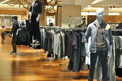 Mens fashion mannequin in store Stock Photography