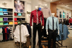 Mens Fashion Mannequins in Store. Men's fashion mannequin in Express Store Stock Photos