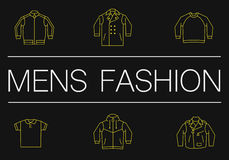 Mens fashion thin line banner on the black Stock Images