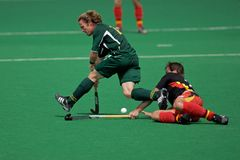 Mens field hockey action Royalty Free Stock Images
