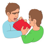 Mens fighting over purchase icon, cartoon style Royalty Free Stock Image