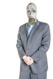 Mens in gasmasker stock foto