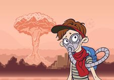 Mens in gasmasker op een achtergrond van onvruchtbaar landschap en een kernexplosie Post apocalyptisch concept Vector stock illustratie