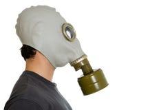 Mens in gasmaskerprofiel Royalty-vrije Stock Foto