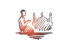 Mens, gebed, godsdienst, moslim, Arabisch, islam, moskeeconcept Hand getrokken geïsoleerde vector stock illustratie