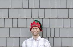 Mens gelukkig bij Kerstmis Stock Afbeeldingen
