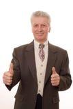 mens gesturing duimen die omhoog op wit worden geïsoleerdi Royalty-vrije Stock Afbeeldingen