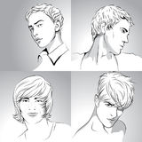 Mens haircuts hand-drawn Royalty Free Stock Image