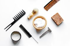 Mens hairdressing desktop with tools for shaving top view Royalty Free Stock Photography