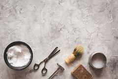 Mens hairdressing desktop with tools for shaving top view Stock Photo