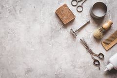 Mens hairdressing desktop with tools for shaving top view Royalty Free Stock Photo