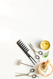 Mens hairdressing desktop with tools for shaving top view.  royalty free stock photography