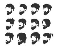 Mens hairstyle with a beard and mustache. Fashion illustration, hand graphics - mens hairstyle with a beard and mustache royalty free illustration