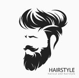Mens hairstyle with a beard and mustache. Mens hairstyle and hirecut with beard mustache vector illustration