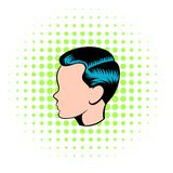 Mens hairstyle icon, comics style. Mens hairstyle icon in comics style on a white background vector illustration