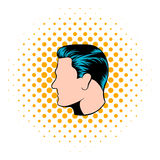 Mens hairstyle icon, comics style. Mens hairstyle icon in comics style on a white background stock illustration