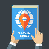 Mens hand holding travel guide. Creative flat illustration of bl Royalty Free Stock Image