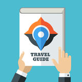 Mens hand holding travel guide. Creative flat illustration of wh Stock Image