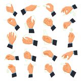 Mens hand icons. Male arm beyond the wrist, including the palm, fingers, and thumb, holding different objects. Vector flat style cartoon illustration isolated Stock Photos