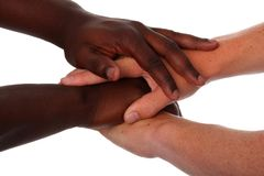 Mens hands in Friendship Stock Images