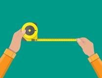 Mens hands hold measuring tape. Construction industry. vector illustration in flat style vector illustration