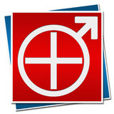 Mens Health Sign Red Blue. Mens Health Symbol in white with Medical Cross and Male symbol vector illustration