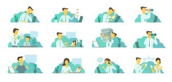 Mens in het bureau op het werk Het zoeken van laptop Correspondentie, mededeling en probleem het oplossen vector illustratie