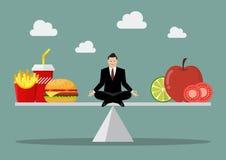 Mens het in evenwicht brengen tussen ongezonde kost en gezond voedsel royalty-vrije illustratie