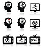 Mens het houden van voetbal of voetbal geplaatste pictogrammen Stock Foto's