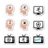 Mens het houden van voetbal of voetbal geplaatste pictogrammen Royalty-vrije Stock Foto