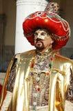 Mens in het kostuum van de Sultan in Venetië Carnaval 2011 Stock Foto