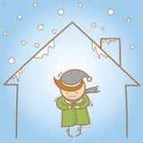 Mens in het koude huis royalty-vrije illustratie