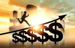 Mens het lanceren de treden van het dollarteken in de stad van Moskou Royalty-vrije Stock Afbeelding