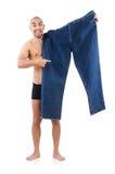 Mens in het op dieet zijn concept Stock Fotografie