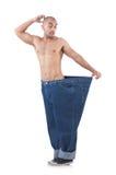 Mens in het op dieet zijn concept Royalty-vrije Stock Foto's