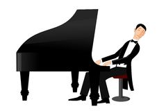 Mens het spelen piano met hartstocht Stock Afbeelding