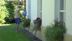 Mens het water geven bloem in pot het hangen op muurhuis bij de zomer 4K stock footage