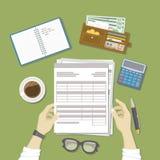 Mens  het werken met documenten De mensen` s handen houden de rekeningen, loonlijst, belastingsvorm Het werkzaken, financieel pro vector illustratie