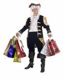 Mens in het winkelen met oude kostuum en pruik. Royalty-vrije Stock Foto