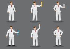 Mens in het Witte Karakter van de Kostuum Vectormanier - reeks royalty-vrije illustratie